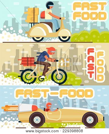 Fast Food And Pizza Delivery Horizontal Banners With Cityscape On Background. Couriers With Pizza Bo