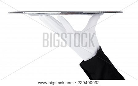 Servant Wearing White Glove Holds Stainless Steel Tray On White Background