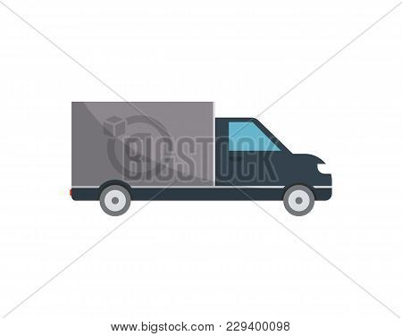 Commercial Delivery Truck Isolated Icon. Modern Lorry Truck, Vehicle For Cargo Transportation, Truck