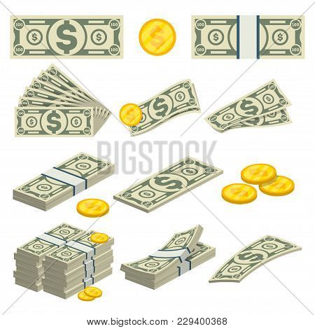 Money Icons Set In Cartoon Style. Packing In Bundles Of Banknotes, Pile Of Cash, Paper Money, Gold C