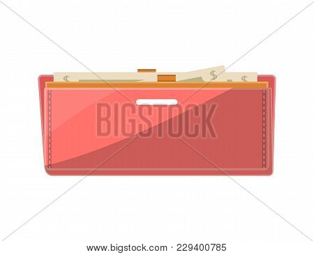 Female Leather Open Clutch With Banknotes Icon In Flat Style. Elegant And Fashion Accessory, Busines