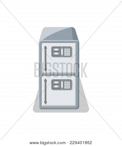 Electronic Strongbox Icon In Flat Style. Money Storage, Financial Safety, Cash Security, Bank Deposi