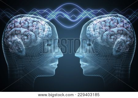 Telepathy Concept. Two People Are Communicating. 3d Rendered Illustration.