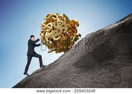 Sisyphus Metaphore. Young Businessman Is Maximizing Earnings And Pushing Heavy Boulder Made Of Dolla