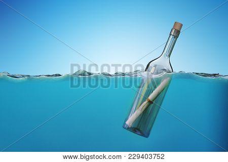 Sos Message In Bottle Floating In Sea. 3d Rendered Illustration.