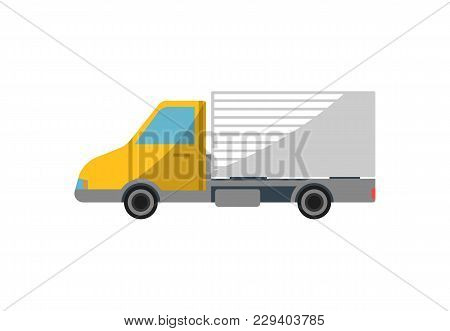 Commercial Freight Truck Isolated Icon. Modern Lorry Truck, Vehicle For Cargo Transportation, Trucki