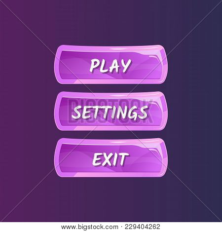 Purple Panel For Game Menu Interface. Play, Settings And Exit Buttons. Bright User Options Selection