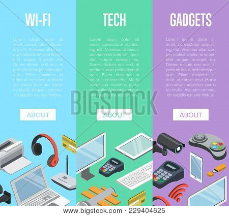 Wireless Gadgets And Computer Devices Isometric Posters With Laptop, Tablet Pc, Usb Drive, Gamepad,