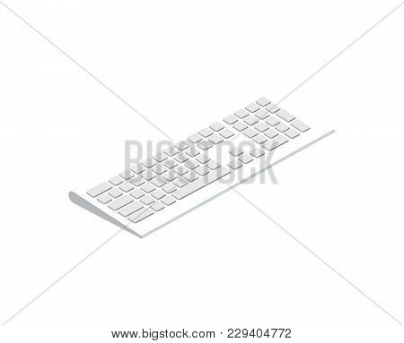 White Wireless Keyboard Isometric 3d Icon. Digital Technologies, Computer Device With Network Commun