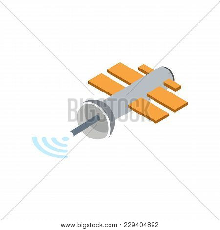 Orbital Communication Satellite Isolated Icon. Astronautics And Space Technology Object, Spacecraft