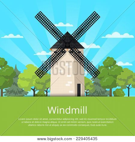 Traditional Stony Old Windmill Building On Nature Background. Medieval European Tourist Attraction R