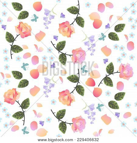 Seamless Ditsy Floral Pattern With Rose, Bell Flowers And Forget-me-not  Isolated On White Backgroun