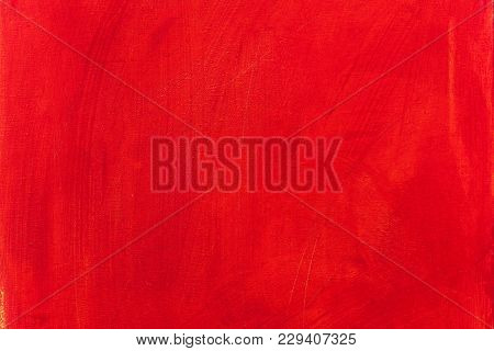 Abstract Acrylic Red Painted Canvas Texture Background With Brush Strokes