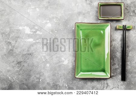 Traditional Ware For Asian Food On Gray Background. Top View, Copy Space. Food Background