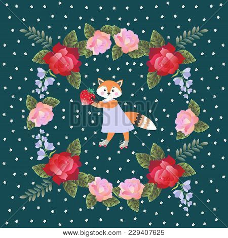 Lovely Little Fox With Strawberry And Wreath Of Roses And Bells Flowers. Square Card, Napkin Or Pill