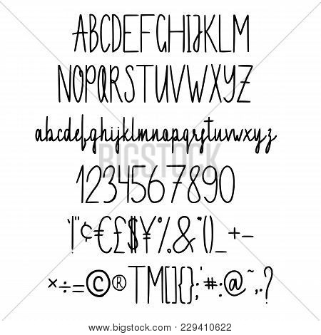 Alphabet In Style Of A Technical Drawing. Hand Line Abc Set. Pen Typeface. Hand Drawn Isolated Lette