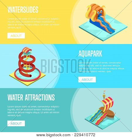Aqua Park Water Slides Isometric Flyers Set. Outdoor Funny Relax And Activity, Summer Time Family Va