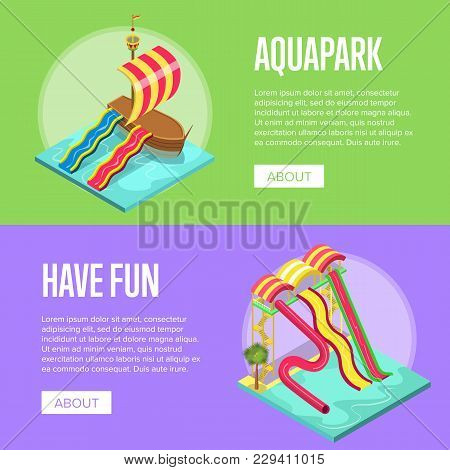 Family Vacation In Aquapark Isometric Flyers. Outdoor Funny Relax And Activity, Leisure In Amusement