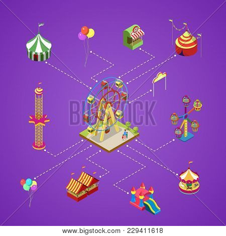 Amusement Park Isometric Infographic With Kids Carousel, Circus Tents, Air Slides, Rifle Range And F
