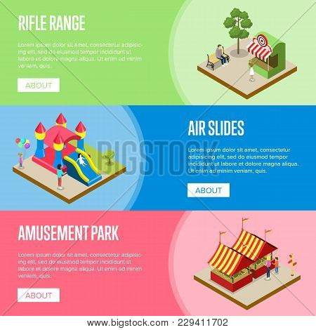 Amusement Park Isometric Horizontal Flyers With Rifle Range, Air Slides And Striped Tents. Funfair C
