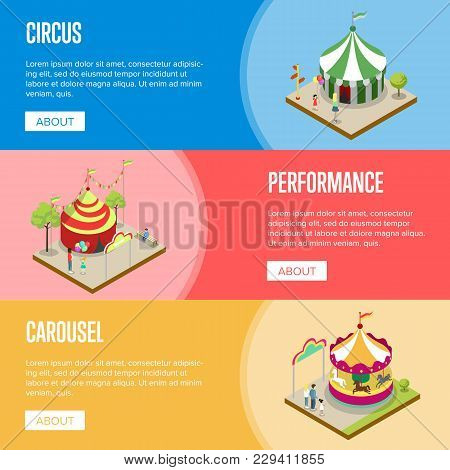 Amusement Park Isometric Horizontal Flyers With Merry Go Round Carousel And Striped Circus Tents. Fu