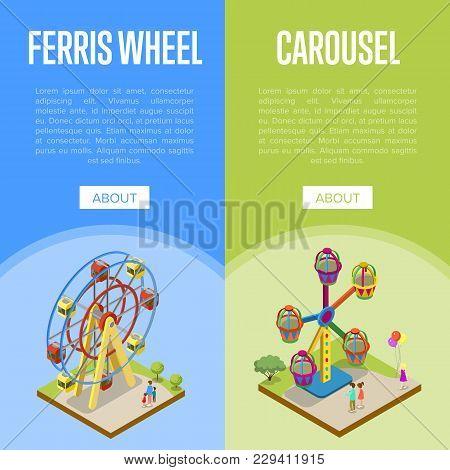 Amusement Park Isometric Vertical Flyers With Kids Carousel And Ferris Wheel Elements. Funfair Carni