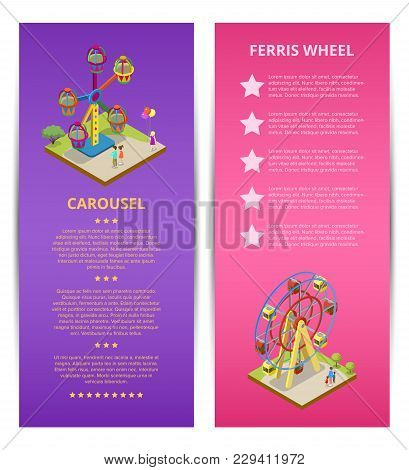 Amusement Park Advertising With Space For Text. Kids Carousel And Ferris Wheel Isometric Flyers. Fun