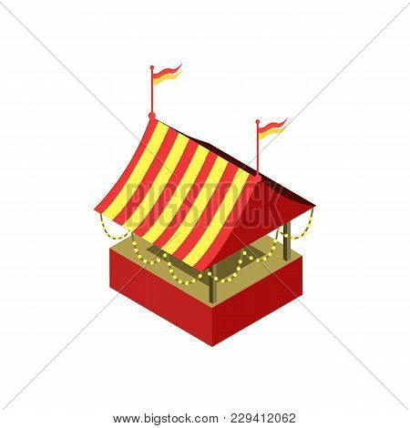 Amusement Park Tent Isometric 3d Element. Family Active Vacation And Entertainment Vector Illustrati