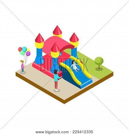 Inflatable Castle Isometric 3d Element. Amusement Park Architecture And Entertainment, Family Rest V