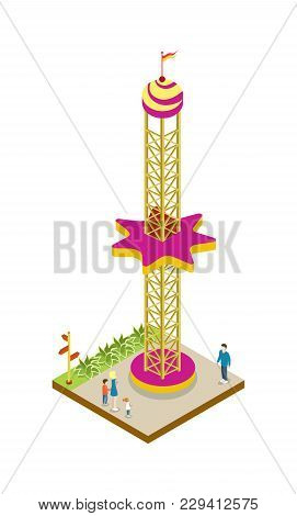 Amusement Park Attraction Isometric 3d Element. Family Active Vacation And Entertainment Vector Illu