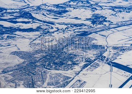 Aerial Photography Of Cities And Roads In The Snow In Russia In Siberia