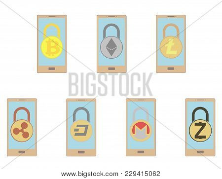 Electronic Security Lock In A Smartphone ,vector Icon. Concept  Vector Disign. Set.
