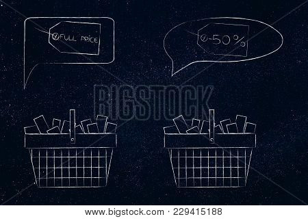 Pricing Strategy Conceptual Illustration: Shopping Baskets Full Of Items With Full Price And Reduced