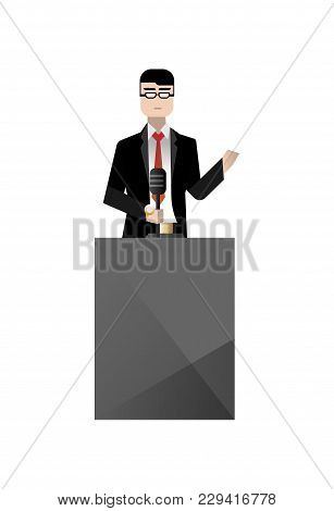 European Businessman In Glasses Speech On Tribune. Corporate Business People Isolated Vector Illustr