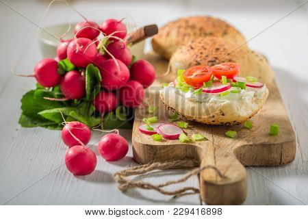 Tasty Sandwich With Crunchy Bread, Fromage Cheese And Radish