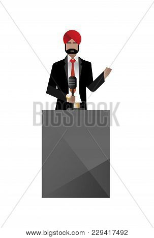 Indian Bearded Businessman In Turban Speech On Tribune. Corporate Business People Isolated Vector Il