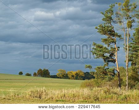 Vief Of Autumn Landscape, Southern Bohemia . Czech Republic