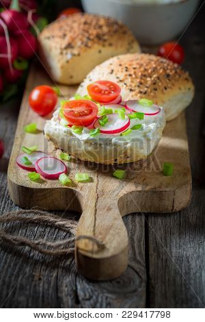 Spring Sandwich With Radish, Creamy Cheese And Tomatoes