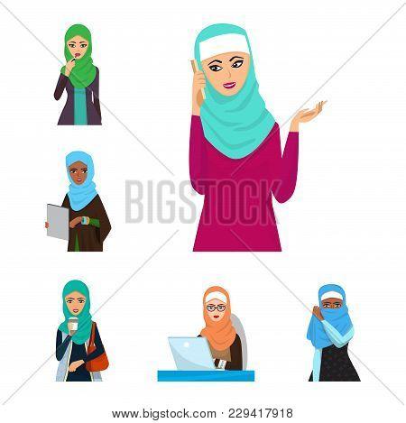 Arabic Woman Character Arabian Asia Nationality Islamic Girl Vector Illustration. Cute Arabic Girl T