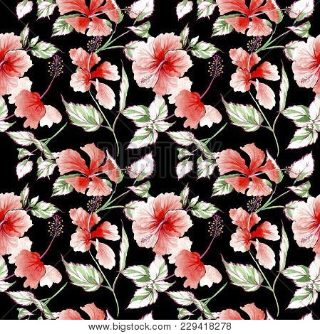 Wildflower Rose Flower Pattern In A Watercolor Style. Full Name Of The Plant: Rose, Rosa, Hulthemia.