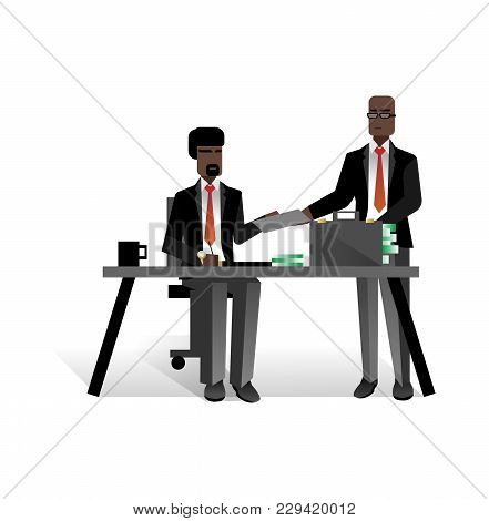 African Businessmen Conclude A Contract In Office. Corporate Business People Isolated Vector Illustr