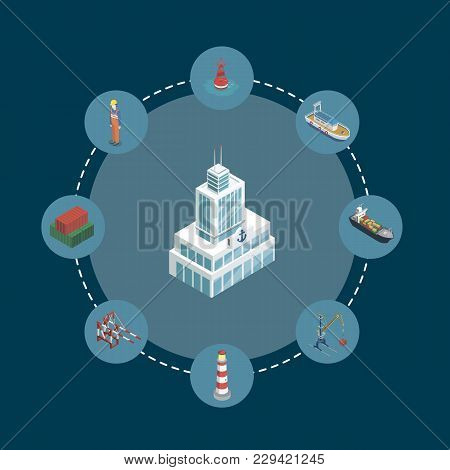 Sea Shipping Banner With Isometric Elements. Container Ship, Lighthouse, Cargo Crane, Port, Warehous