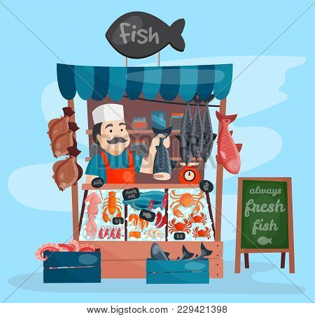Fish Shop Vector Kiosk Street Retro Shop Store Market With Freshness Seafood In Fridge Traditional A