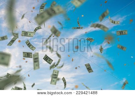 Money Raining And Falling Down From Sky. 3d Rendered Illustration.