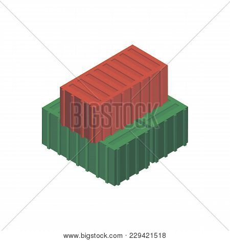 Marine Freight Containers Isometric 3d Element. Sea Shipping Logistics, Commercial World Marine Deli
