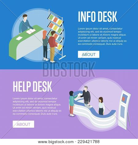 Information And Help Desk Isometric Horizontal Flyers. Company Exhibition Ad Stand, Product Or Servi