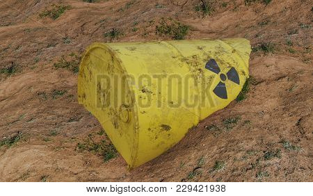 Radioactive Barrel Of Nuclear Waste. Ecology And Environmental Pollution Concept.  3d Rendered Illus
