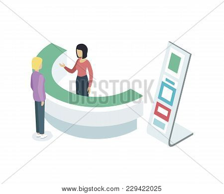 Reception Counter Desk Isometric 3d Element. Information And Exhibition Ad Stand With Manager In Bus