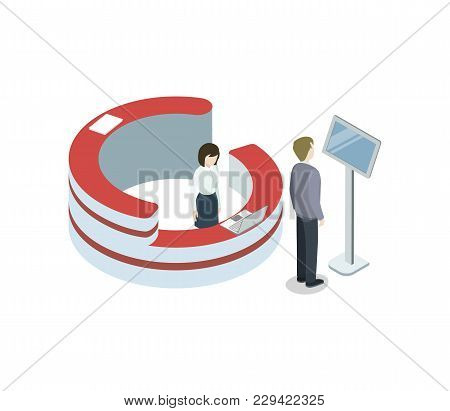 Business Center Reception Isometric 3d Element. Information And Exhibition Ad Stand With Manager In
