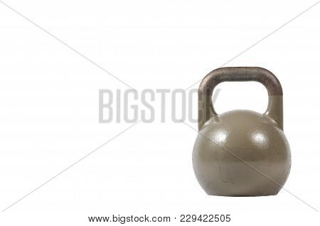 Dark Marine Green Old And Heavy Kettlebell Weight Isolated On The White Background